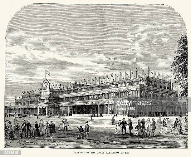 exterior of the great exhibition of 1851 - great exhibition stock illustrations, clip art, cartoons, & icons