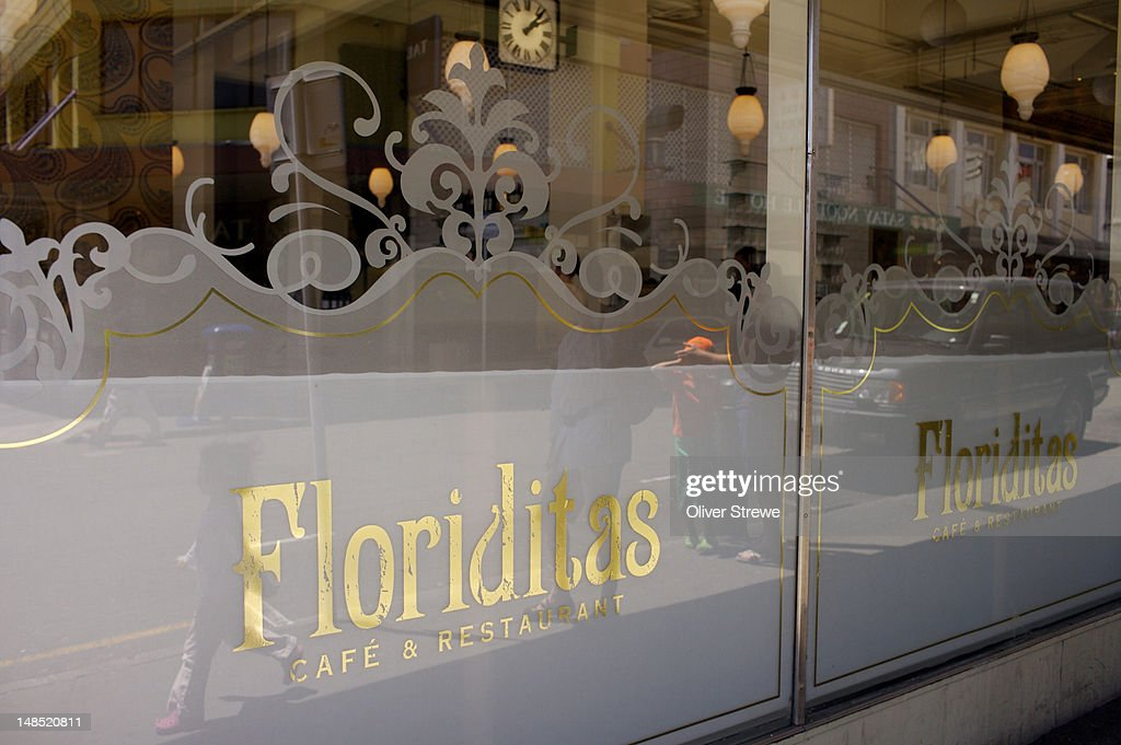 Exterior sign, Floriditas Cafe & Restaurant, 161 Cuba St. : Stockillustraties