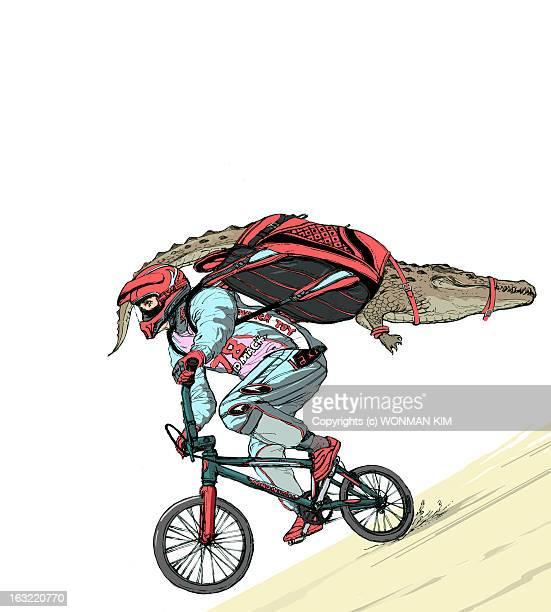 extreme crocodile bike rider - work helmet stock illustrations