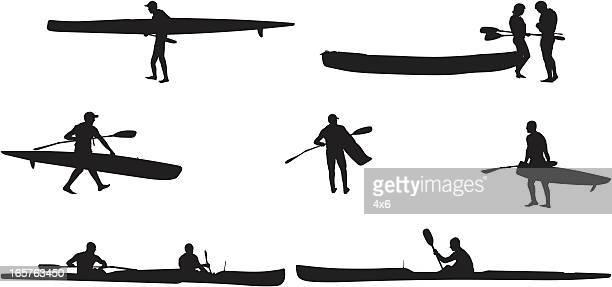 Extreme sports men kayaking