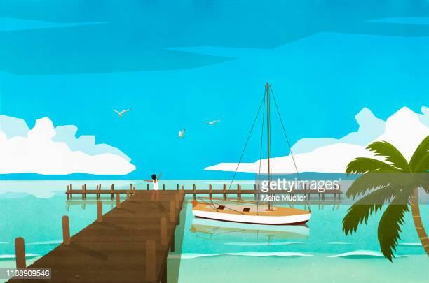 exuberant woman on tropical ocean dock - nautical vessel stock illustrations