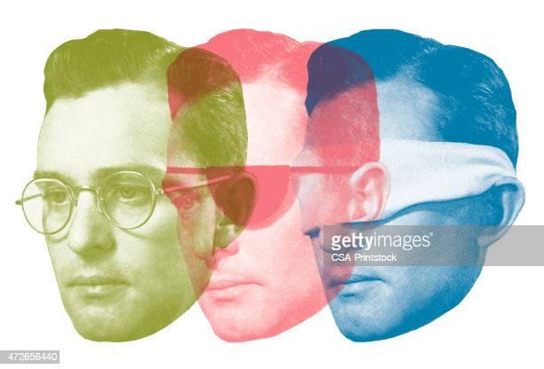 ilustraciones, imágenes clip art, dibujos animados e iconos de stock de ojo cubiertas por triplicado - ojos tapados