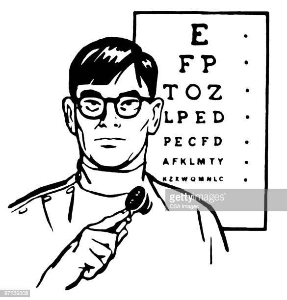 ilustrações, clipart, desenhos animados e ícones de eye doctor - exame de vista exame médico