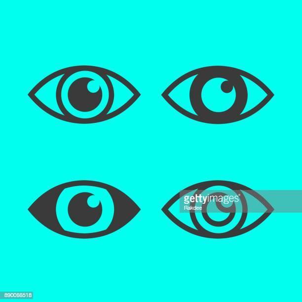 ilustrações, clipart, desenhos animados e ícones de ícone de olhos - retina globo ocular