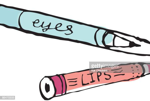 eye liner and lip pencil - lip liner stock illustrations, clip art, cartoons, & icons