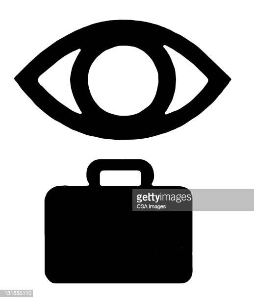 eye suitcase - journey stock illustrations