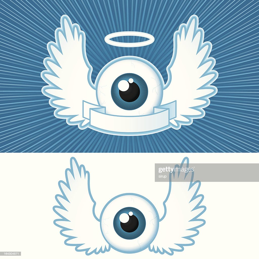 Eye with angel wings and banner - vector