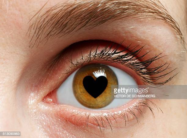eye with heart - staring stock illustrations