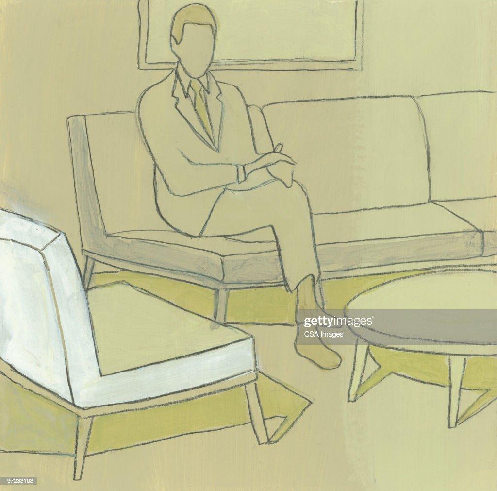 Eyeless man : stock illustration