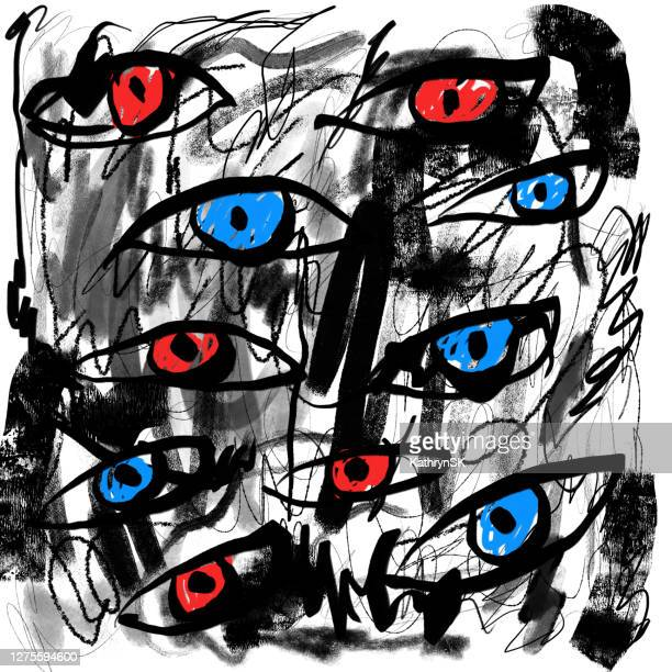 eyes drawing with scribbles - kathrynsk stock illustrations