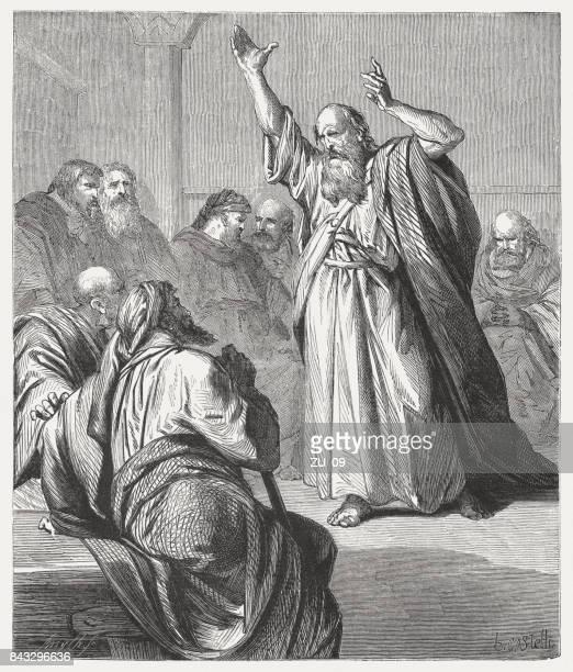 ezekiel prophesied the elders of israel (ezekiel 14), published 1886 - old testament stock illustrations
