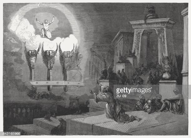 ezekiel's vision of the glory of god (ezekiel 1) - ancient babylon stock illustrations