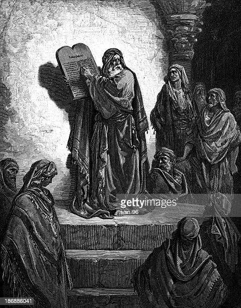 ezra reads the law - gustave dore stock illustrations, clip art, cartoons, & icons