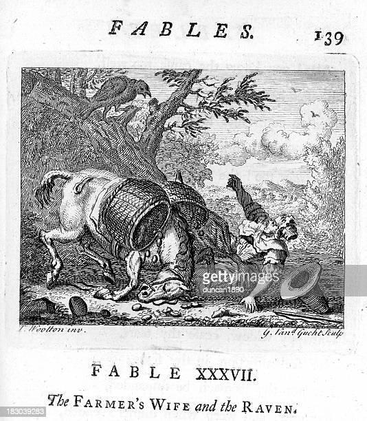 ilustraciones, imágenes clip art, dibujos animados e iconos de stock de locución agricultores mujer y los raven - cuervo