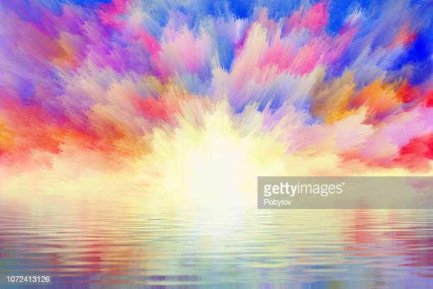 fabulous sunrise reflected in the water - painted image stock illustrations