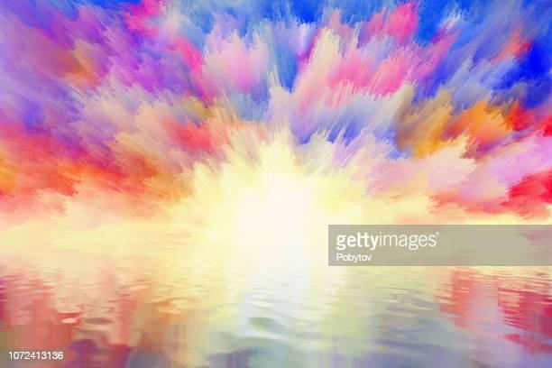 fabelhafte sonnenaufgang spiegelt sich im wasser - schöne natur stock-grafiken, -clipart, -cartoons und -symbole