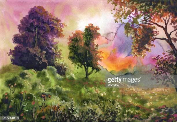 ilustraciones, imágenes clip art, dibujos animados e iconos de stock de magnífico paisaje acuarela - valle