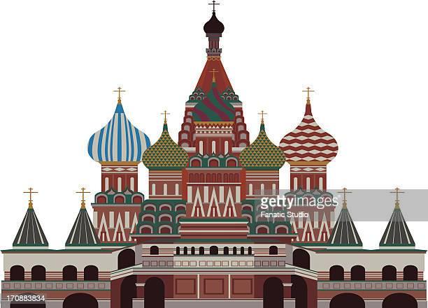 ilustrações, clipart, desenhos animados e ícones de facade of a cathedral, st. basil's cathedral, red square, moscow, russia - cúpula estilo russo