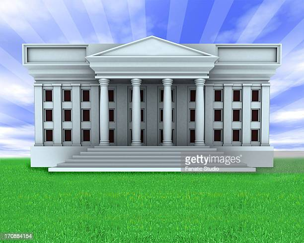 facade of a government building - pediment stock illustrations, clip art, cartoons, & icons