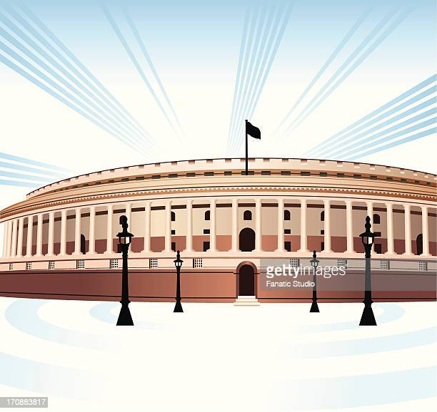 facade of a government building, sansad bhawan, new delhi, india - india politics stock illustrations
