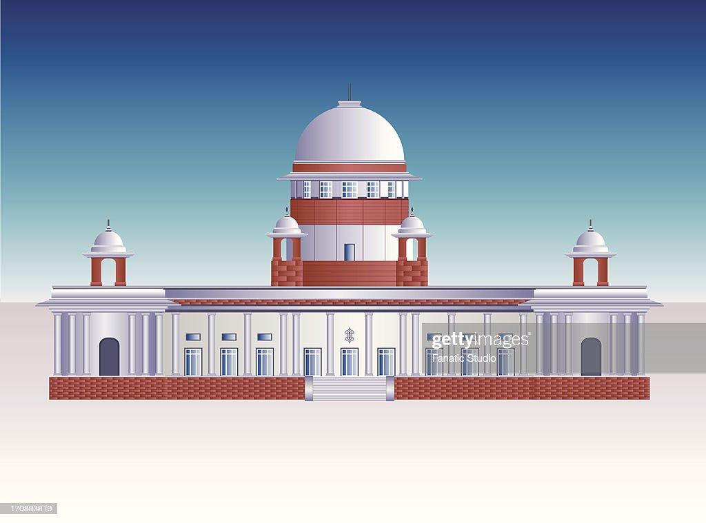 Facade Of A Government Building Supreme Court New Delhi India Vector Art