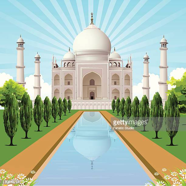 ilustrações, clipart, desenhos animados e ícones de facade of a mausoleum, taj mahal, agra, uttar pradesh, india - taj mahal