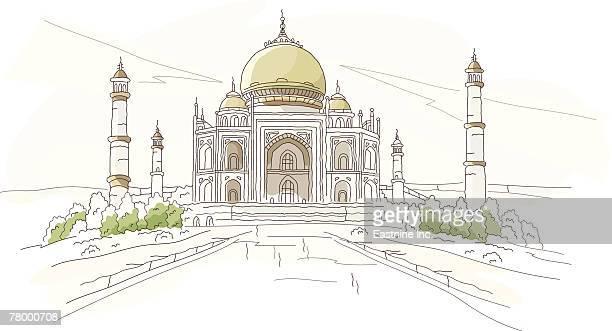 facade of a mausoleum, taj mahal, agra, uttar pradesh, india - uttar pradesh stock illustrations