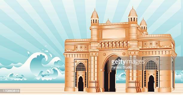 facade of a monument, gateway of india, mumbai, maharashtra, india - monument stock illustrations
