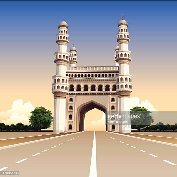 ilustrações, clipart, desenhos animados e ícones de facade of a mosque, charminar, hyderabad, andhra pradesh, india - spire