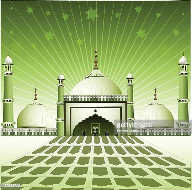 facade of a mosque, india - spire stock illustrations, clip art, cartoons, & icons
