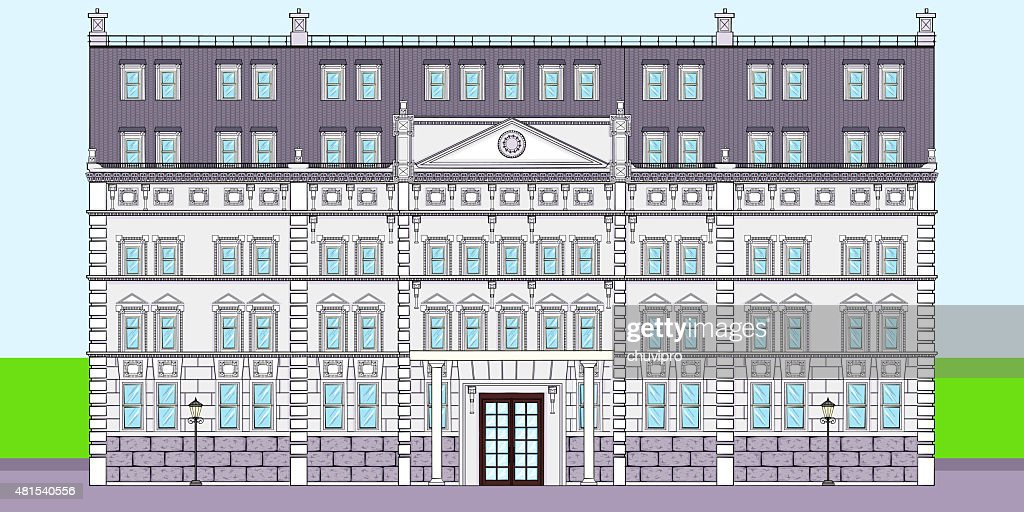 Facade of Palace of the Victorian period : stock illustration