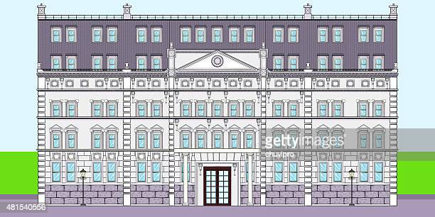 facade of palace of the victorian period - architectural feature stock illustrations, clip art, cartoons, & icons