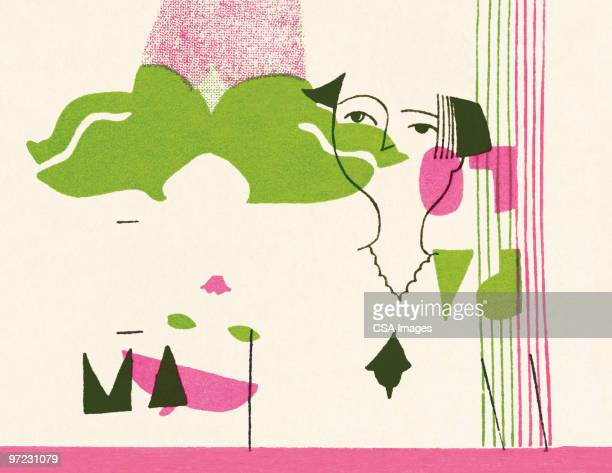 face abstraction - abstract stock illustrations