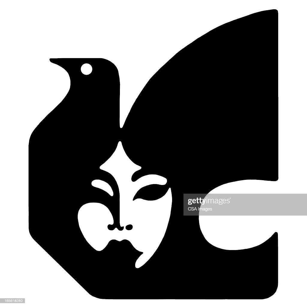Face And Dove Silhouette stock illustration - Getty Images