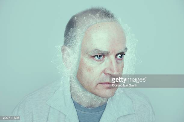 face of caucasian man in cyberspace - mature adult stock illustrations