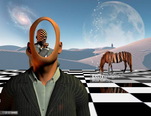 ilustraciones, imágenes clip art, dibujos animados e iconos de stock de faceless businessman with another thinking businessman behind him stands on chessboard with lonely man in a distance white sand dune and striped horse like a tiger, 3d rendering - tablero de ajedrez