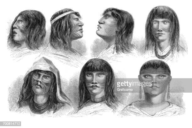faces of native peruvian indian types 1864 - indian costume stock illustrations, clip art, cartoons, & icons