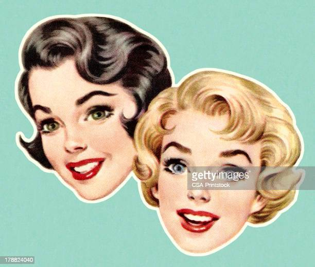 faces of two women - only women stock illustrations, clip art, cartoons, & icons