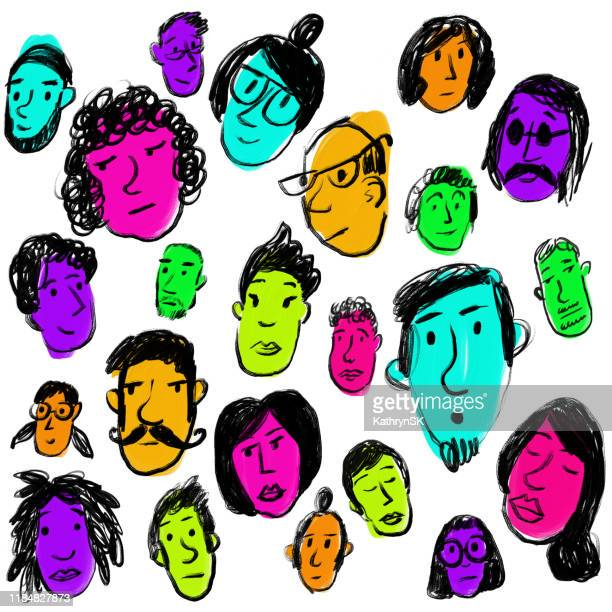 faces with bright colors - updo stock illustrations, clip art, cartoons, & icons