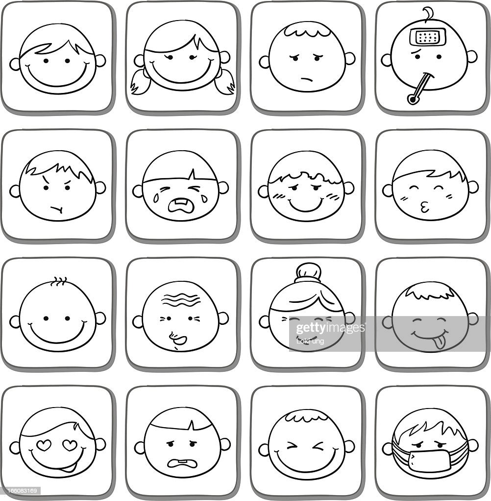 Facial expression icon set in black and white