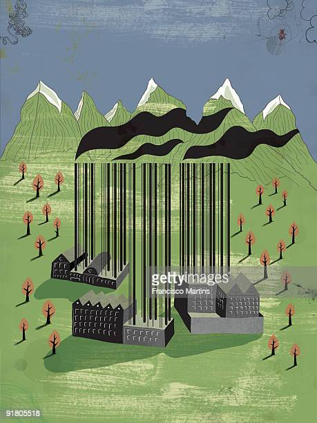 ilustraciones, imágenes clip art, dibujos animados e iconos de stock de factories in the mountains with barcode smoke chimneys - capitalismo