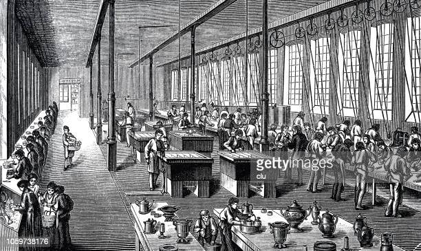 factory for silver plating - industrial revolution stock illustrations
