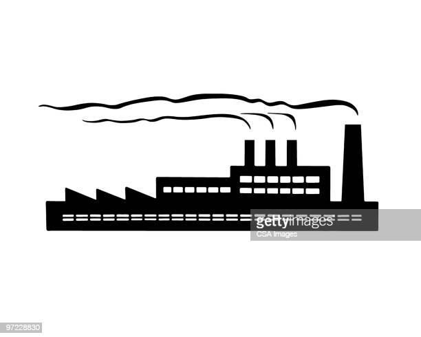 factory - air pollution stock illustrations