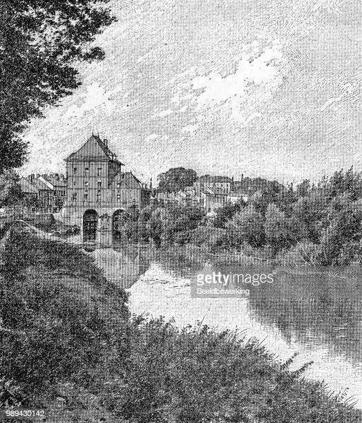 factory in charleville on the meuse in ardennes 1895 - champagne region stock illustrations, clip art, cartoons, & icons