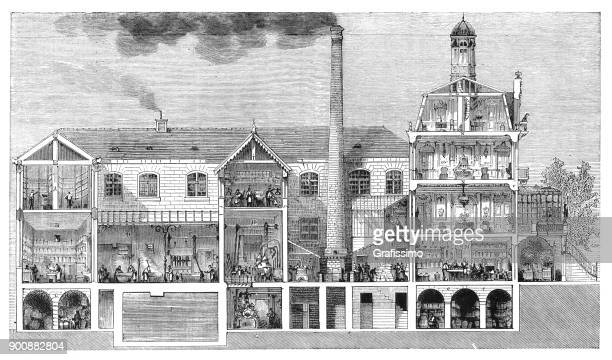factory manufacturing soap and perfume with steam power in levallois-perret france 1875 - industrial revolution stock illustrations
