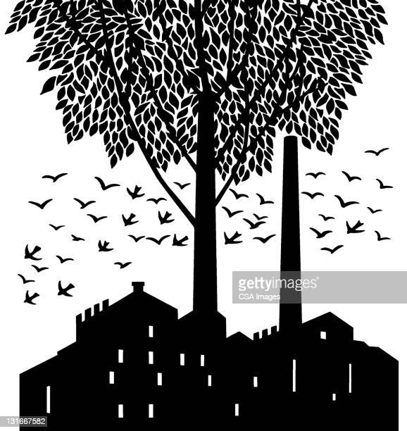 factory tree and birds - facade stock illustrations