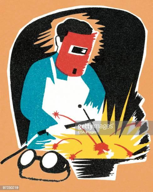 ilustraciones, imágenes clip art, dibujos animados e iconos de stock de fábrica trabajador - soldar