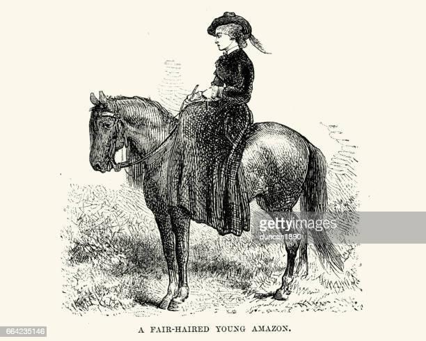 fair haired western amazon - horse family stock illustrations, clip art, cartoons, & icons