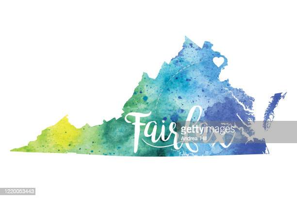 フェアファックス, バージニア州 ラスター水彩画マップのイラスト - フェアファックス点のイラスト素材/クリップアート素材/マンガ素材/アイコン素材