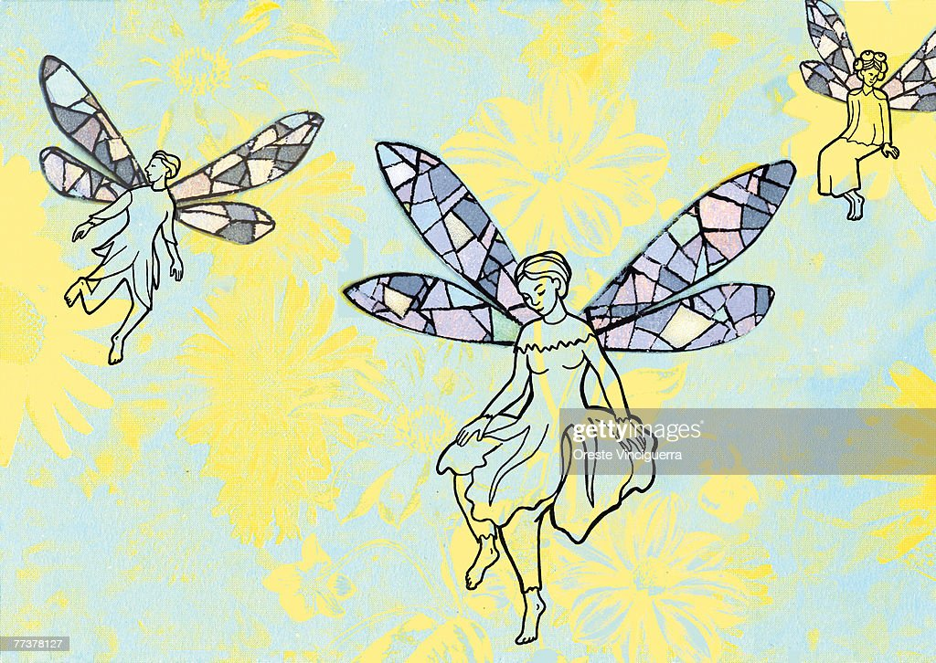 Fairies flying among beautiful flowers : Illustration